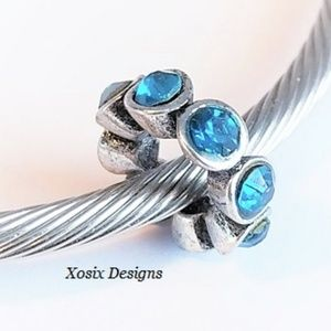 European Teal Blue CZ Spacer Charm Bead Pendant
